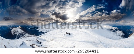 Panorama of Snow Mountain Range Landscape with Blue Sky at Carpathian mountain region. Ukrainend - stock photo