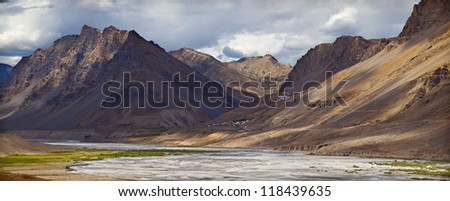 Panorama of Spiti valley, Himachal Pradesh, India - view to Key Gompa - tibetan buddhist monastery