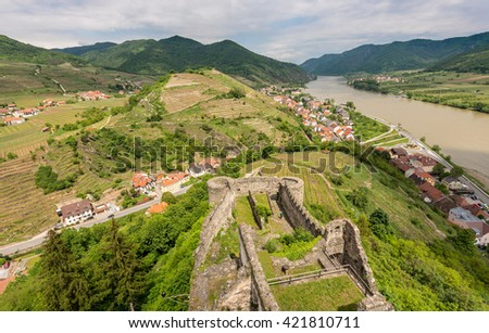 Panorama of Spitz in Wachau valley, World Heritage Site (UNESCO) - stock photo