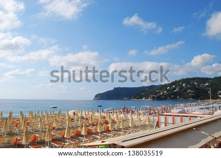 Panorama of Spotorno village and beach, Mediterranean sea, Liguria, Italy - stock photo