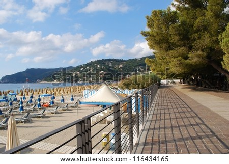 Panorama of Spotorno village, walk and beach, Mediterranean sea, Liguria, Italy - stock photo