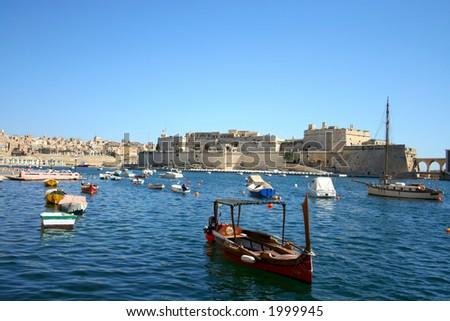 panorama of st. angelo fort on malta island - stock photo