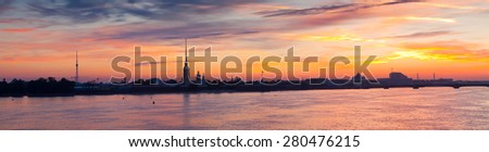 Panorama of St. Petersburg. Peter and Paul Fortress in summer morning - stock photo