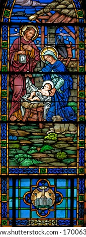 Panorama of Stained glass window of Nativity from 1899 - stock photo
