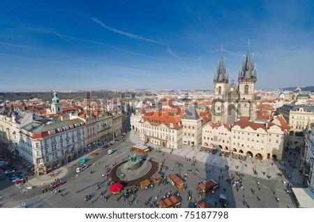 Panorama of Staromestska square and Maria Church in Prague, Czech Republic - stock photo
