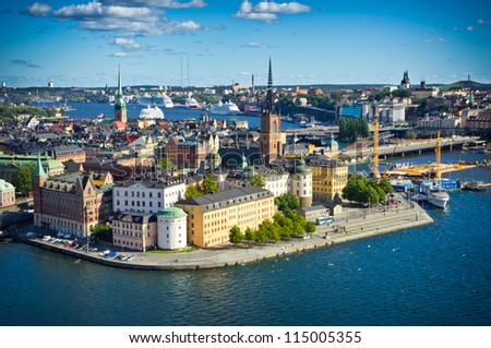 Panorama of Stockholm Old City, Sweden - stock photo