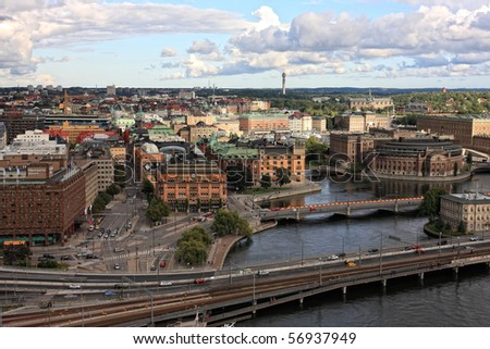 Panorama of Stockholm, Sweden, view from City Hall - stock photo