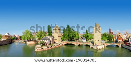 Panorama of   Strasbourg, medieval bridge Ponts Couverts. Alsace, France.  - stock photo