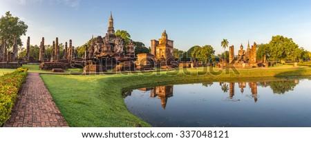 panorama of Sukhothai Historical Park, Thailand - stock photo