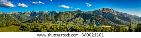 Panorama of sunset in Tatra mountains in Zakopane, Poland - stock photo