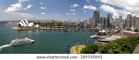 Panorama of Sydney Cove and the Harbour of Sydney, Australia and view on the Skyline of Sydney. Seen from the Sydney Harbour Bridge. - stock photo