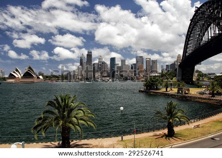 Panorama of Sydney Cove and the Harbour of Sydney, Australia, and view on the Skyline of Sydney. Seen from Kirribilli, a northern suburb of Sydney. - stock photo