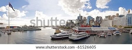 Panorama of Sydney's Darling harbour - stock photo