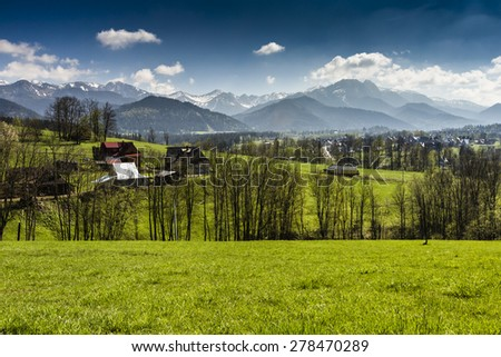 Panorama of Tatra Mountains in spring time, Poland