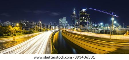 Panorama Of Tel Aviv City And Ayalon Freeway At Night - View of Tel Aviv at night. - stock photo