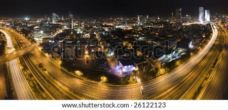 Panorama of Tel Aviv city skyline at night Israel - stock photo