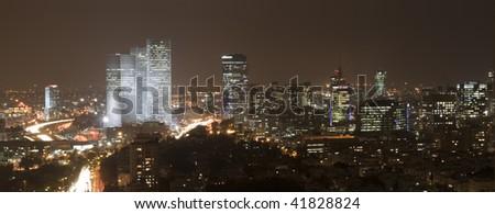 Panorama of Tel Aviv skyline  at night, Israel - stock photo
