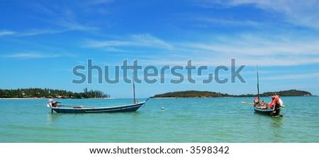 Panorama of Thai Boats - stock photo