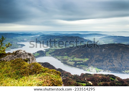 Panorama of the Alps from the top of the Schafberg mountain - stock photo