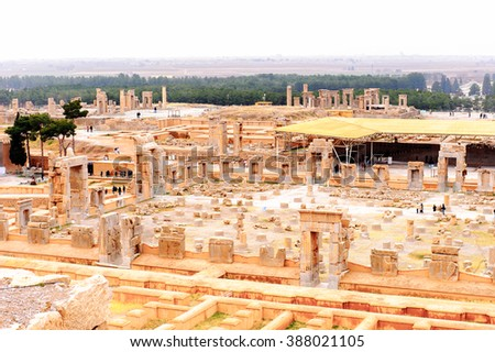 Panorama of the ancient city of Persepolis, Iran. UNESCO World heritage site - stock photo