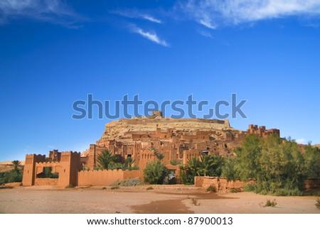 Panorama of the ancient moroccan kasbah Ait Benhaddou, near Ouarzazate - Unesco world heritage. - stock photo