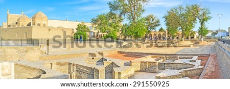 Panorama of the archaeological site of the old bazaar ruins with the Magoki-Attari mosque and Toqi Sarrafon market on the background, Bukhara, Uzbekistan. - stock photo