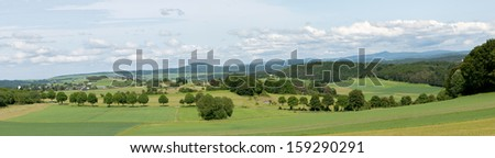 Panorama of the area of Alendorf in the Eifel Germany - stock photo