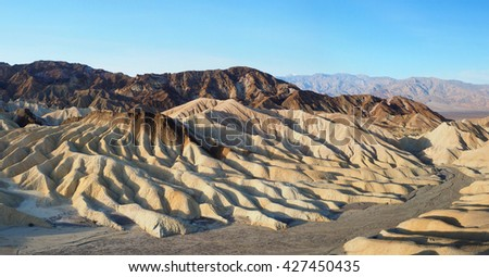 Panorama of the Backside of Zabriski Point as Seen from Golden Canyon Death Valley National Park - stock photo