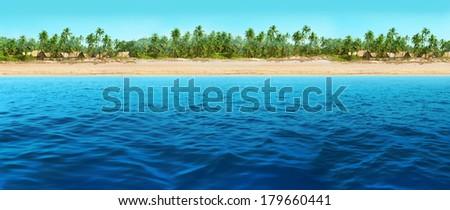 panorama of the beach - stock photo