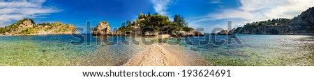 panorama of the beach and island Isola Bella in the city Taormina, Sicily - stock photo