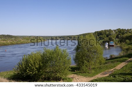 Panorama of the beach of the Oka river in summer day.