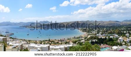 Panorama of the beach with recreation yachts on Turkish resort, Bodrum, Turkey - stock photo