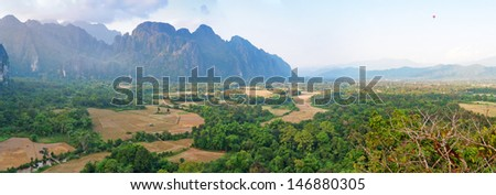 Panorama  of the beautiful landscape from mountain. Vang Vieng. Laos. - stock photo