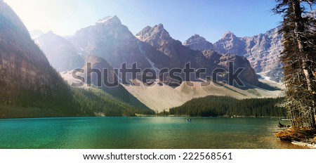 Panorama of the Beautiful Moraine Lake in the Valley of the Ten Peaks, Banff National Park, Rocky Mountains of Canada. Composition from 5 images.