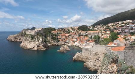 Panorama of the Beautiful Rugged Coastline of Dubrovnik, Croatia - stock photo
