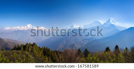 Panorama of the beauty sunrise in Himalaya mountains - stock photo
