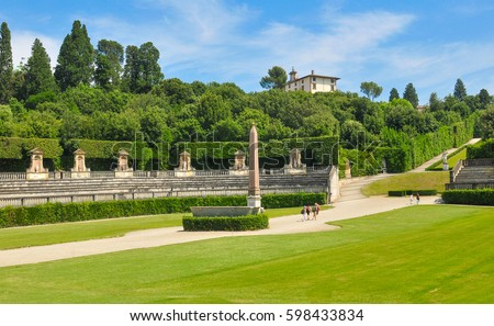 Panorama Boboli Gardens Florence Italy Stock Photo & Image (Royalty ...