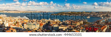 Panorama of the Bosphorus in Istanbul, Turkey