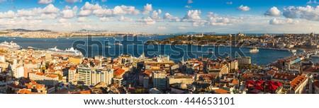 Panorama of the Bosphorus in Istanbul, Turkey - stock photo