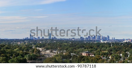 panorama of the Boston skyline from Quincy Quarries to the south - stock photo