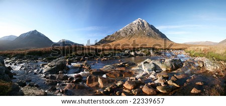 Panorama of the Buachaille Etive Mor in Scotland's highlands - stock photo