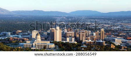 Panorama of the capital of Utah in Salt Lake City in the evening sun - stock photo