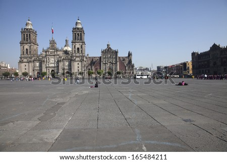 Panorama of the Cathedral of Mexico City - stock photo