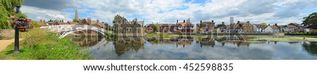 Panorama of the Causeway, Town Offices and Chinese Bridge at Godmanchester Cambridgeshire England,