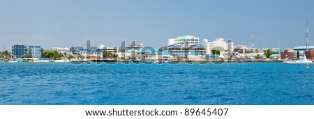 Panorama of the Cayman Islands, located in the Western Caribbean. - stock photo