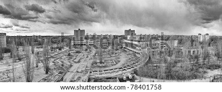 Panorama of the central square of Pripyat - stock photo