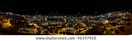 panorama of the city at night Las Americas, Canary Islands oceanfront - stock photo