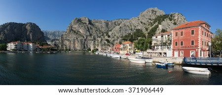 Panorama of the city at the river mouth of river Cetina in Croatia - stock photo