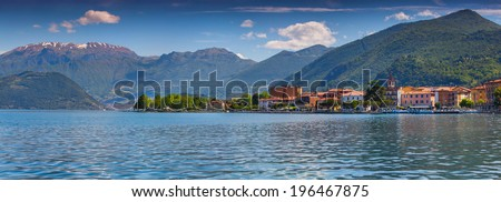 Panorama of the city Clusane, a bright sunny day. Italy, the Alps, Lake Iseo. - stock photo