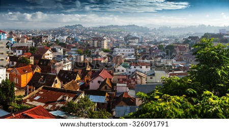 Panorama of the city of Antananarivo at sunrise. Madagascar - stock photo